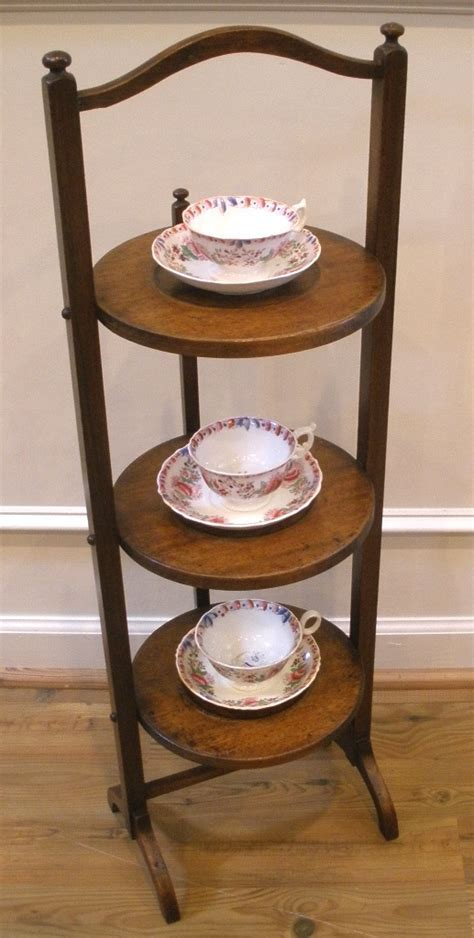 Antique English Mahogany Three Tier Cake Stand, Display
