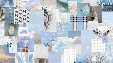 free blue white aesthetic laptop wallpaper in