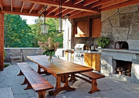 rustic outdoor kitchen  camden maine contemporary