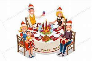 Christmas Dinner Party Vector Illustration - Image