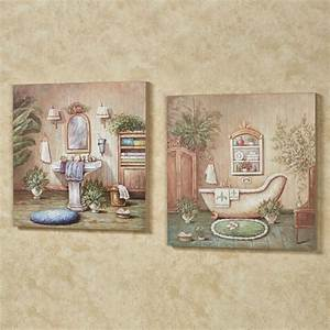 Blissful bath wooden wall art plaque set for Wall plaques for bathroom