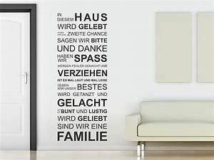 Wandtattoo Sprüche Familie : wandtattoo in diesem haus wird gelebt wandspruch von ~ Frokenaadalensverden.com Haus und Dekorationen