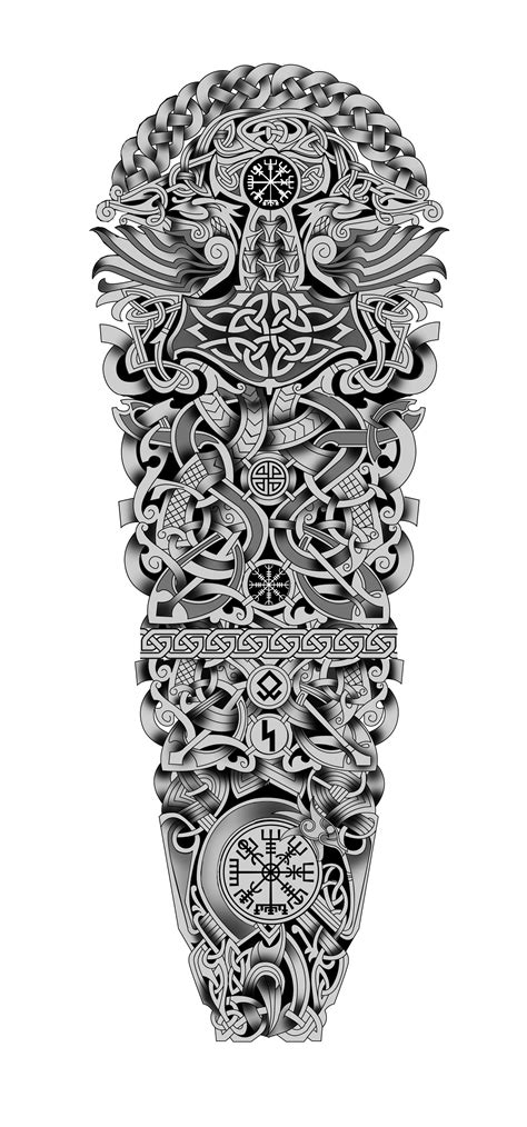 100$ Nordic Viking Celtic Full Sleeve Tattoo Design. Designer: Andrija Protic (With images