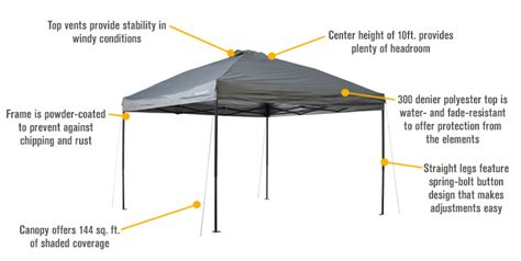 strongway pop  outdoor canopy tent ft  ft open top straight leg cool gray