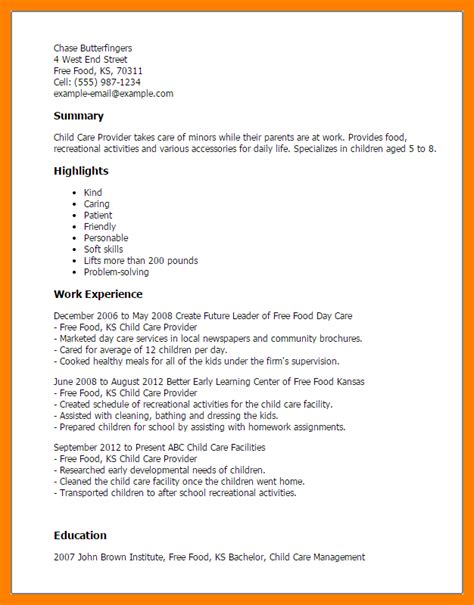 Sle Resume For Personal Care Worker by 8 Resume For Child Caregiver Writing A Memo