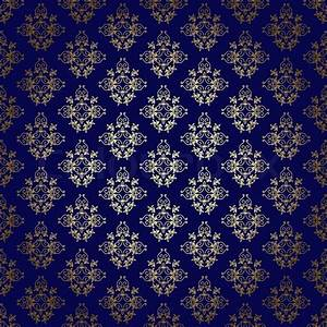 Dark blue vector seamless background with gold gradient