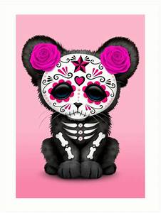 """Pink Day of the Dead Sugar Skull Panther Cub"" Art Prints"