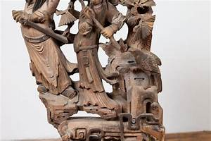 Chinese, Antique, 1900s, Hand, Carved, Wooden, Corbel, With, Deities, Mounted, On, Base, For, Sale, At, 1stdibs