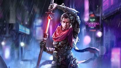 Cyborg Sword Cyberpunk Resolution Published June Wallpapers