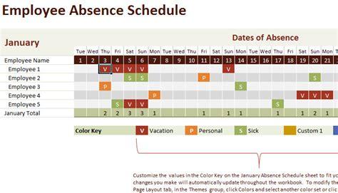 vacation  work planning calendar template  excel