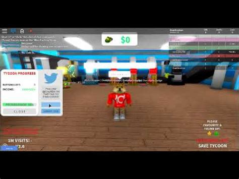 roblox tower factory tycoon   code read desc