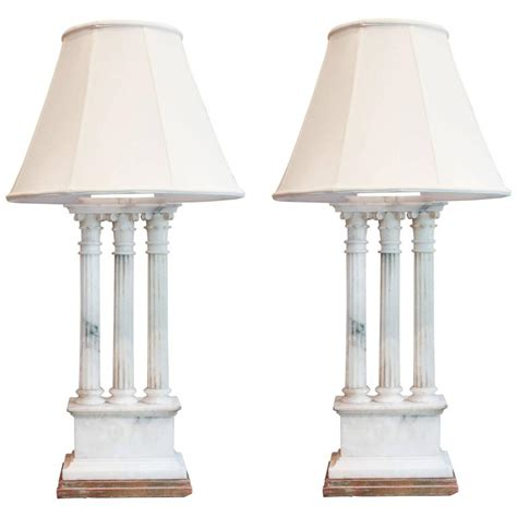 Pair Of Neoclassical White Alabaster Table Lamps For Sale