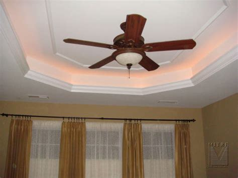 Tray Ceiling Trim Ideas by Tray Ceiling With Lighting The Crown Molding Our