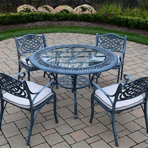 round table patio set outdoor oakland living mississippi cast aluminum 5 piece patio