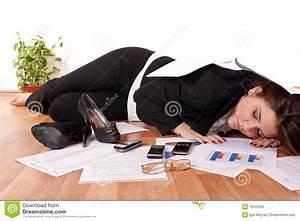 Business woman sleeping on floor stock photography image for Is sleeping on the floor good