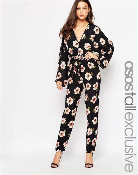 lyst asos kimono sleeve jumpsuit in floral print in pink