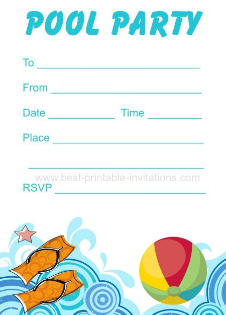 pool invitation template printable pool invitation