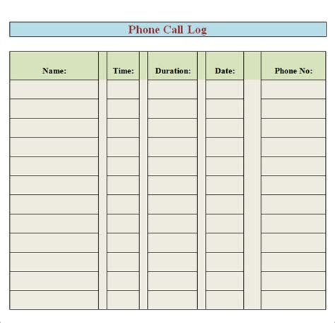login using cell phone number phone log template 8 free pdf doc
