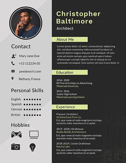 architect resume template   resume