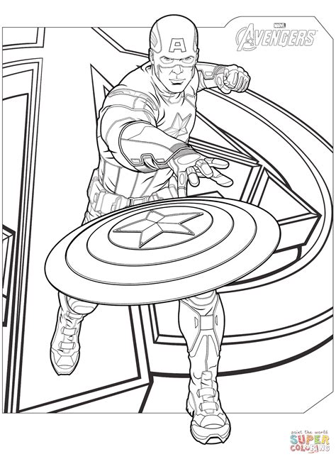 avengers captain america coloring page  printable