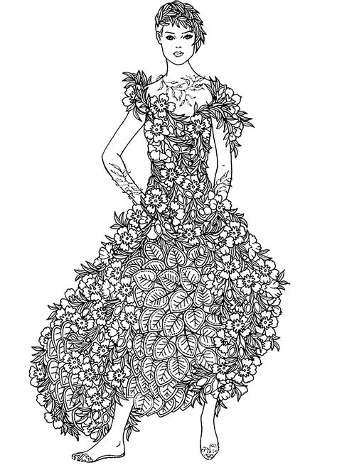 flowers dress flowers adult coloring pages