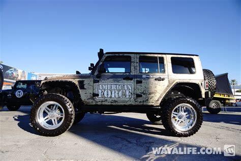 blue camo jeep 2013 sema camo american force jeep jk wrangler 4 door
