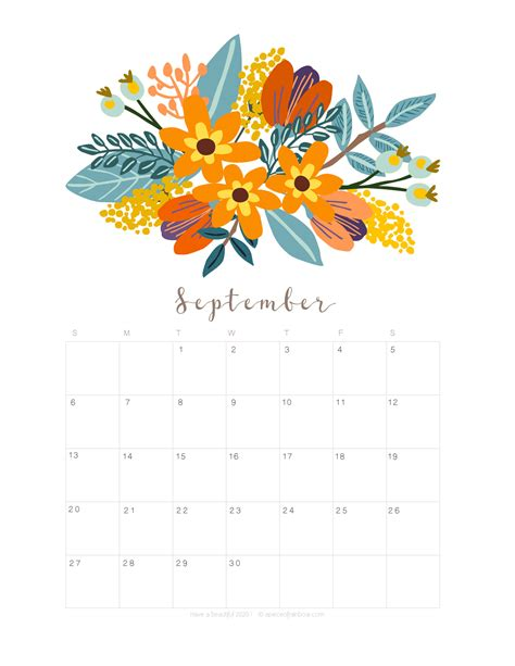 printable september  calendar monthly planner