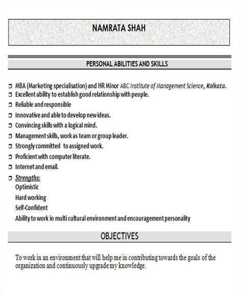mba resume for freshers in marketing 43 professional fresher resumes