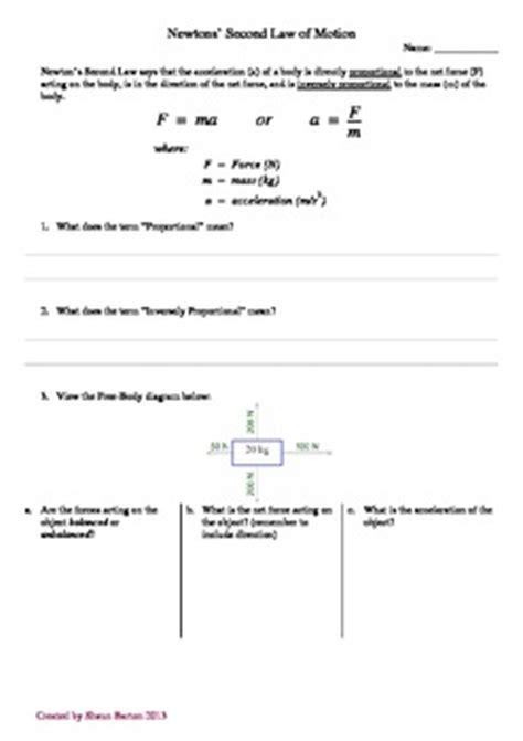 newtons  law  motion worksheet  aussie science