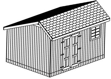 Custom Saltbox Shed Plans, 12 x 16 Shed, Detailed Building