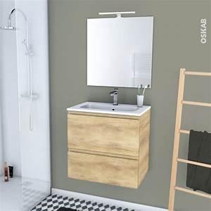 Plan Vasque Bois : ensemble salle de bains meuble ipoma bois plan vasque r sine miroir et clairage l60 5 x h58 5 x ~ Teatrodelosmanantiales.com Idées de Décoration
