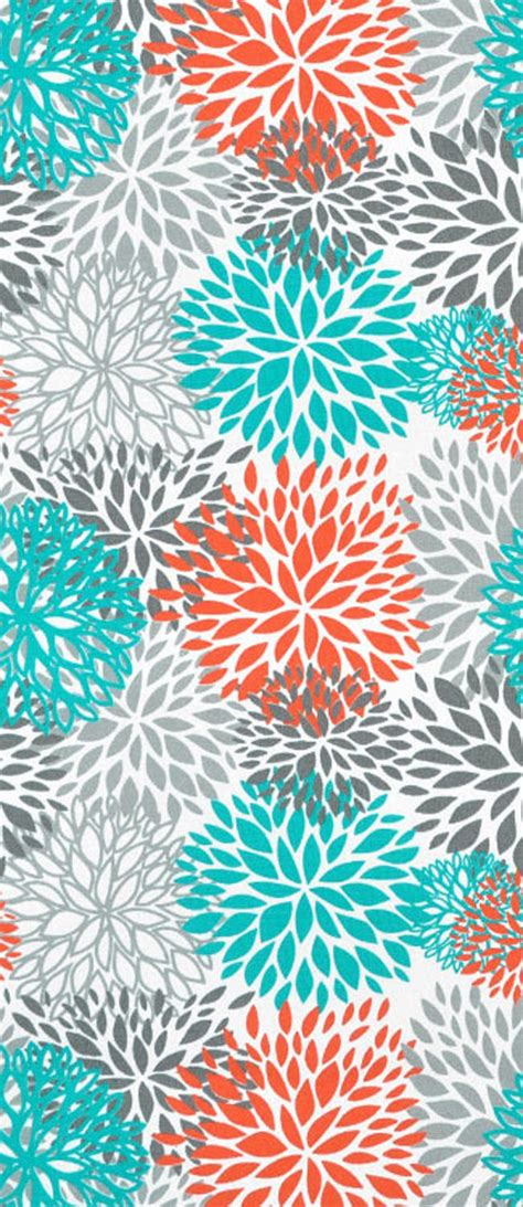 Turquoise And Orange Bedroom by Premier Prints Outdoor Blooms Pacific Fabric Aqua Blue