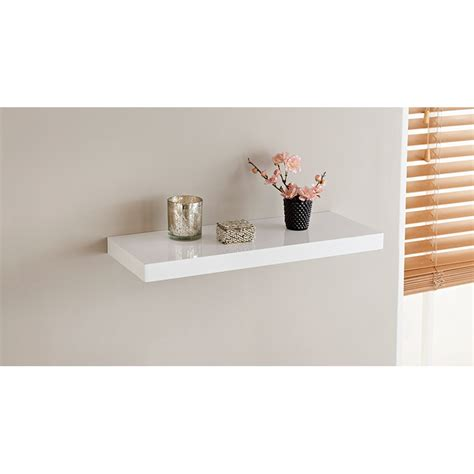 Small White Shelf by Norsk High Gloss Shelves 60cm Storage Shelving B M