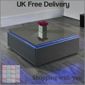 Shop the top 25 most popular 1 at the best prices! LED Lighted Coffee Table High Gloss Grey Lounge Living Room Furniture | eBay