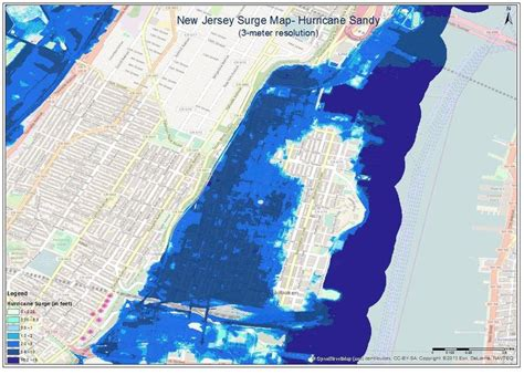 Storm Surge Inundation Map Of Hoboken Nj Source Fema
