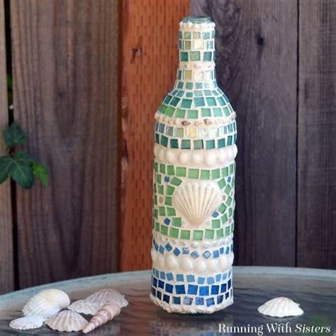 mosaic wine bottle   mosaic  tiles  shells