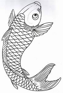 Drawn koi fish outline - Pencil and in color drawn koi ...