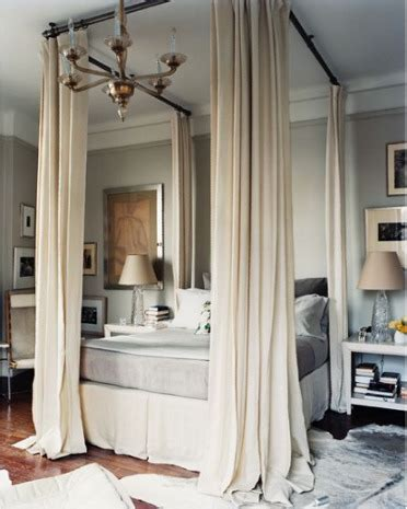 Four Poster Drapes - clever idea four poster look with curtain rods