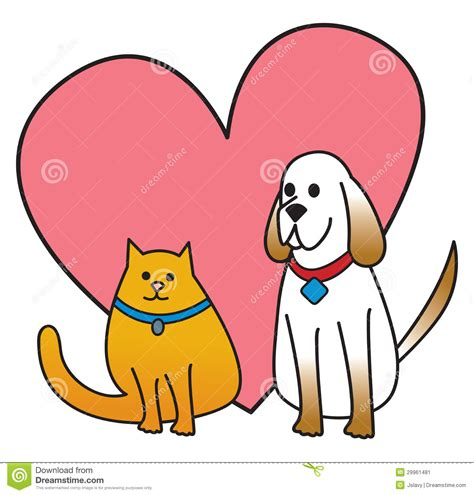 dog  cat  heart stock image image