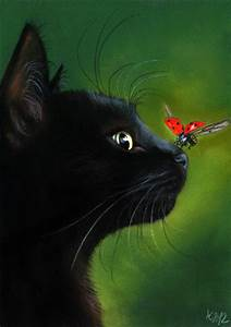 Original Pastel Painting Black Cat Kitten schwarze Katze ...