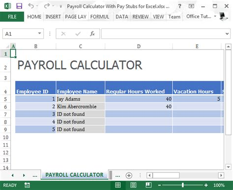 payroll template excel payroll calculator with pay stubs for excel