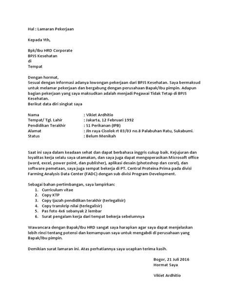 Contoh Surat Lamaran Kerja Bpjs Kesehatan Ptt - Contoh Seputar Surat
