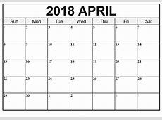 Free April 2018 Calendar Printable Template US Canada UK