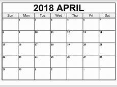 Printable April 2018 Calendar Editable Template
