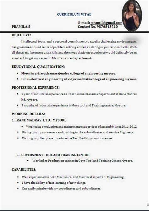 Curriculum Vitae Format Exle by Curriculum Vitae Simples Sle Template Exle