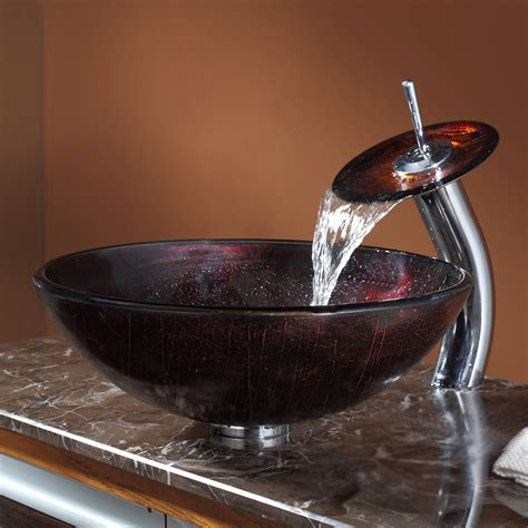 kitchen sink shower kraus vessel sink with waterfall faucet 5937