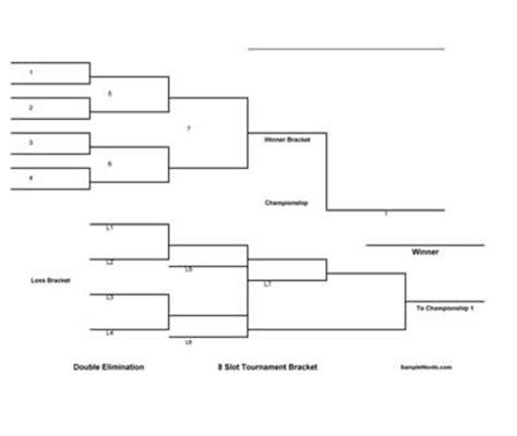 printable  team double elimination tournament bracket
