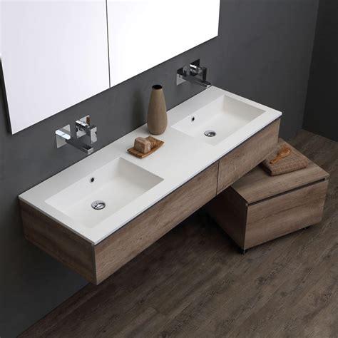 Bagno Lavabo Mobile Bagno 150 Cm Doppio Lavabo Per Rubinetto A Muro