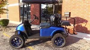 Viper Blue Metallic Lifted Ezgo Rxv Golf Cart With Custom Seats  Black Oem Top  13hp Kawasaki
