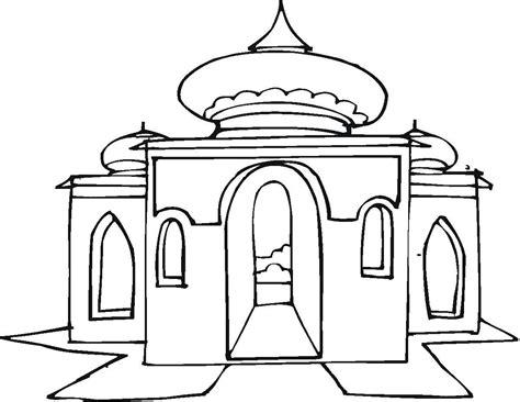 mewarnai gambar masjid bonikids coloring page